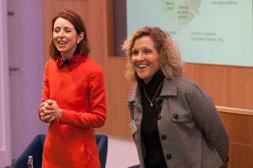 Helena Morrissey and Professor Marianne Lewis on stage at the Cass Dean's Lecture