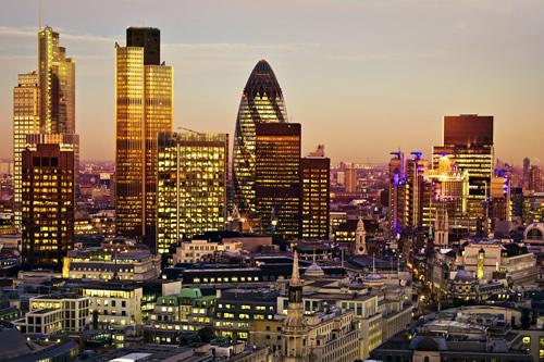 City of London in golden sunlight