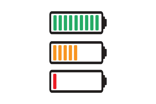 Graphic of a series of battery icons showing different stages of depletion.
