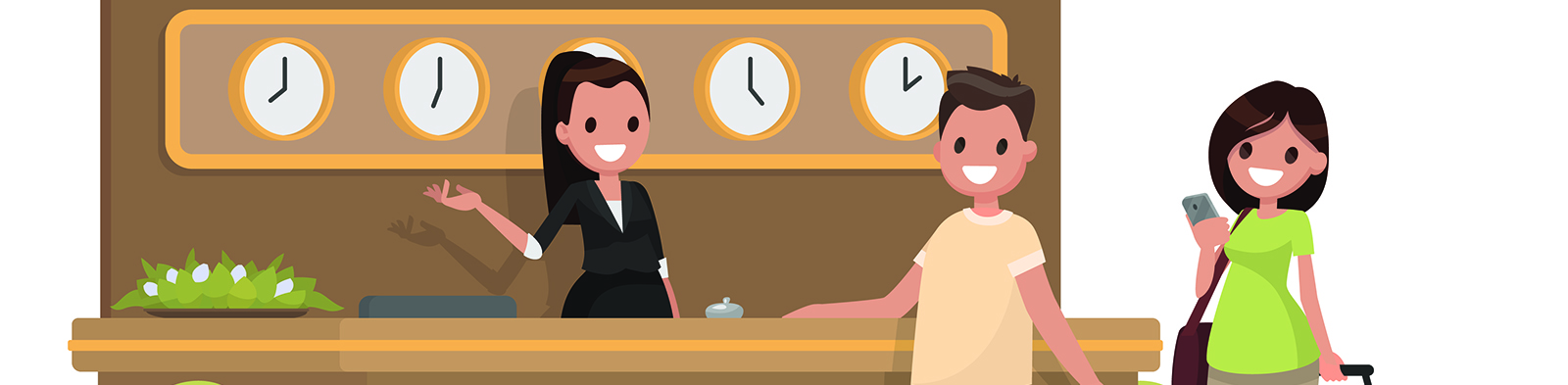 Cartoon of man and a woman checking into hotel
