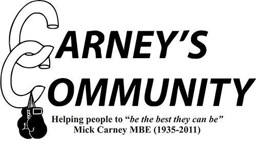 """Carney's Community logo 'Helping people to """"be the best they can be"""" Mick Carney MBA (1935 - 2011)"""""""