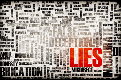 Words associated with lies and deception