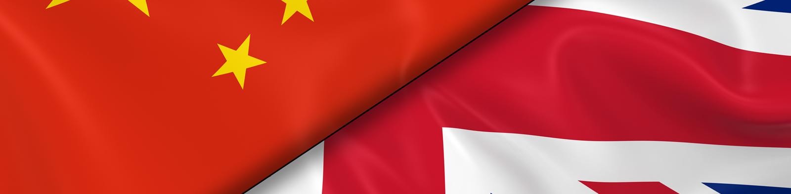 Flags of China and United Kingdom divided diagonally