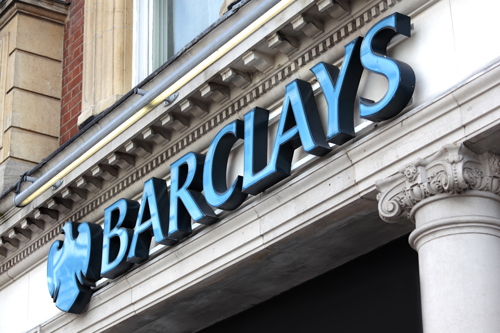 Barclays sign on London Branch.