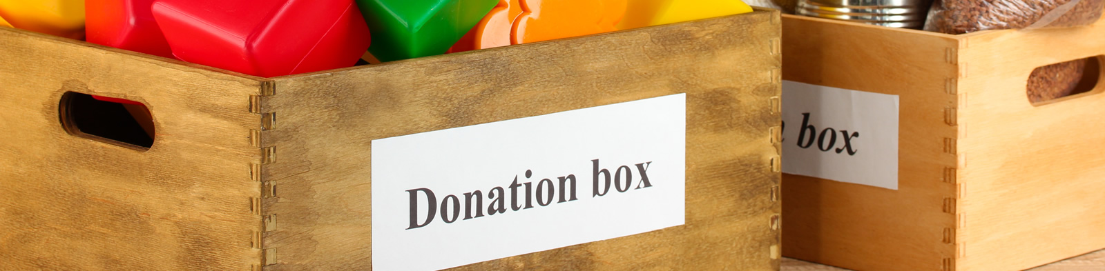 Donation box containing goods
