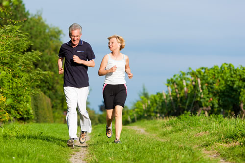 An older couple keeping fit