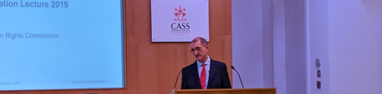 David Isaac CBE delivers a speech at Cass Business School in Setember 2019.