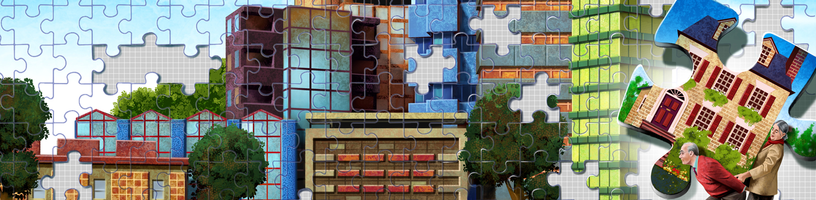 Jigsaw puzzle with cartoon elderly couple carrying one of the pieces