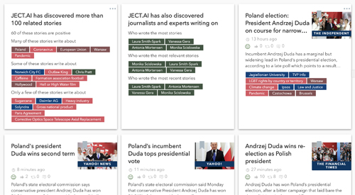 Screenshot of the results of a search on Poland on the JECT.AI website. The search results are displayed in tiles across the page, with colour-coded tags on subject, author, location etc.