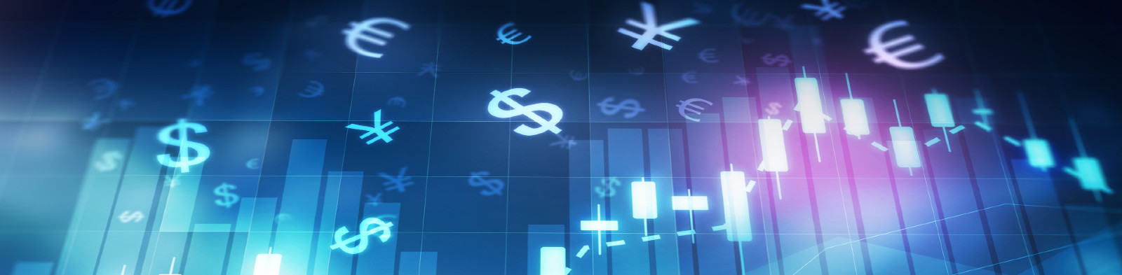 Graphic featuring currency symbols and financial charts