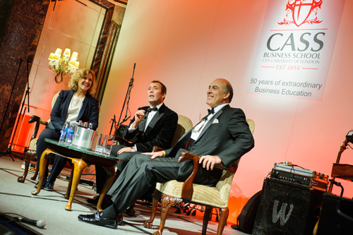 L-R Prof Marianne Lewis, Dean of Cass; Mr William Lewis, CEO Dow Jones; Mr Muhtar Kent, CEO, CocaCola Company