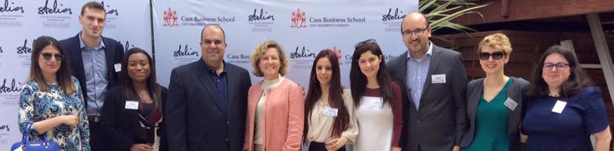 Sir Stelios Haji-loannou, Chairman and Founder, Easyjet and Professor Marianne Lewis at the Cass Business School Monaco Scholars reunion.