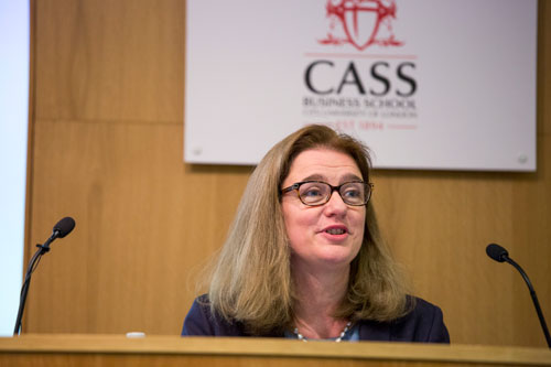 Ruth Kelly delivering SJCF Lecture at Cass