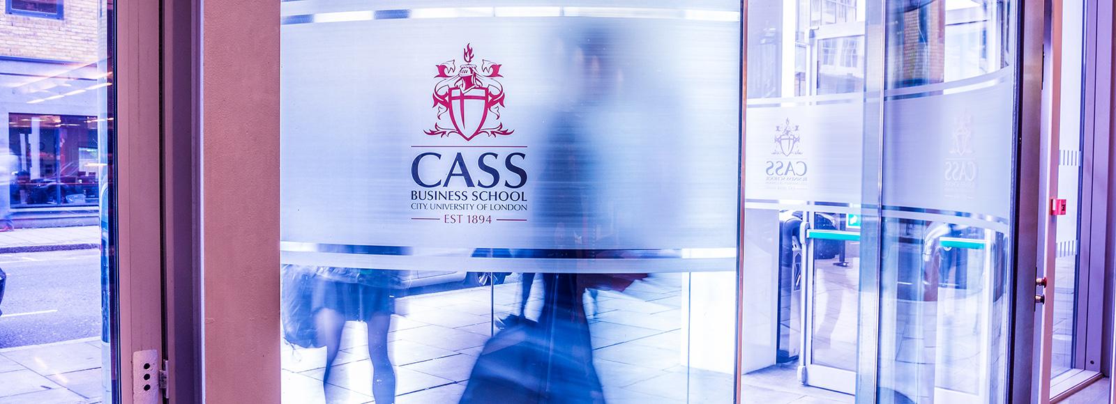 Cass Business School branding on a window