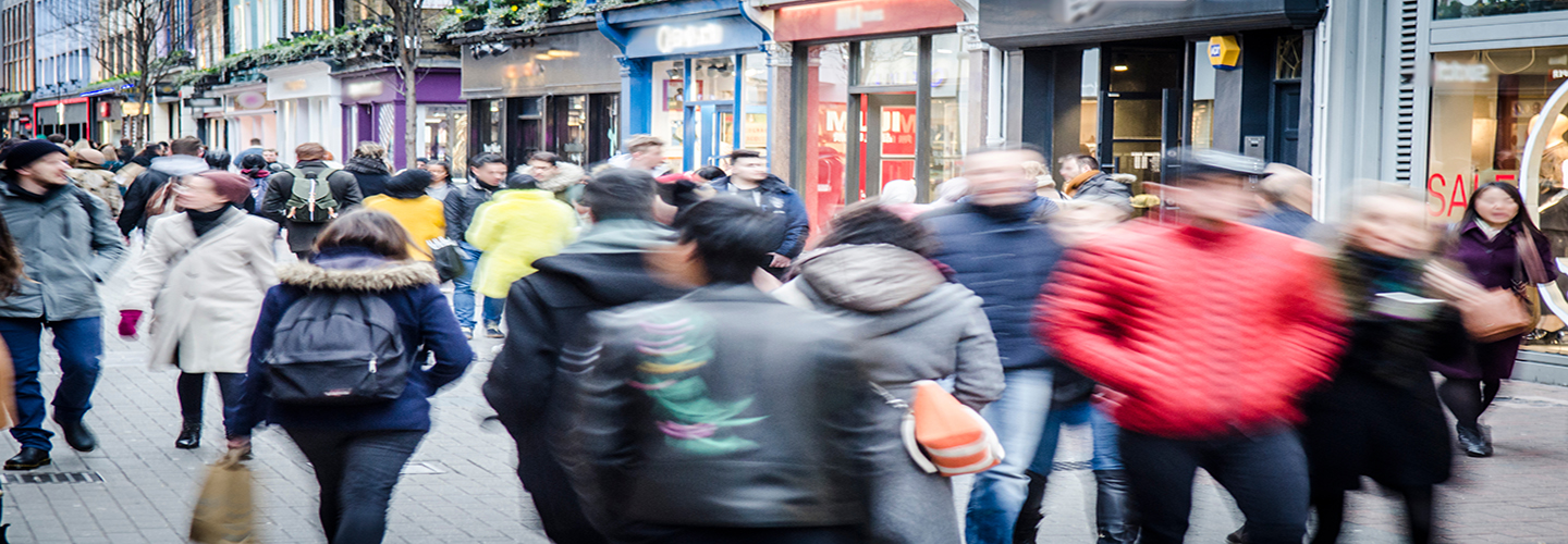 Shoppers in a busy high street