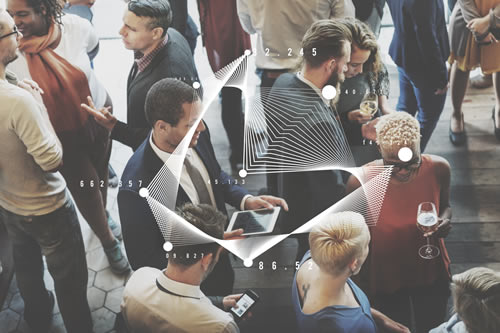 A crowd of digitally savvy people