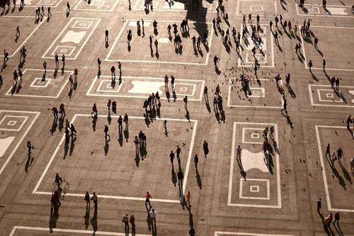 Mass of people mingling