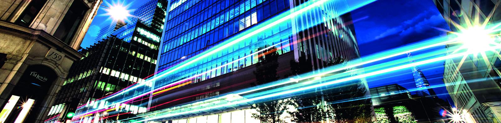 An illuminated London street