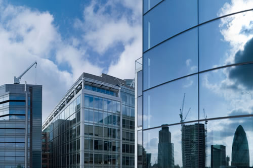 Reflections of buildings in the City of London