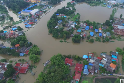 A flooded area in Asia