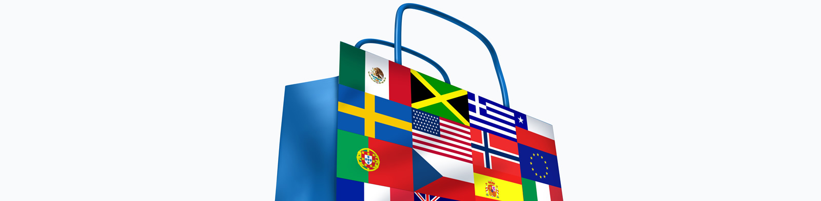 Shopping bag adorned with flags from around the world