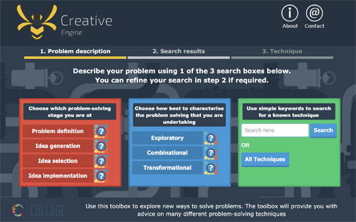 Screenshot of the BeCreative Engine website showing 3 search options: problem solving stage, characterisation and keyword search.