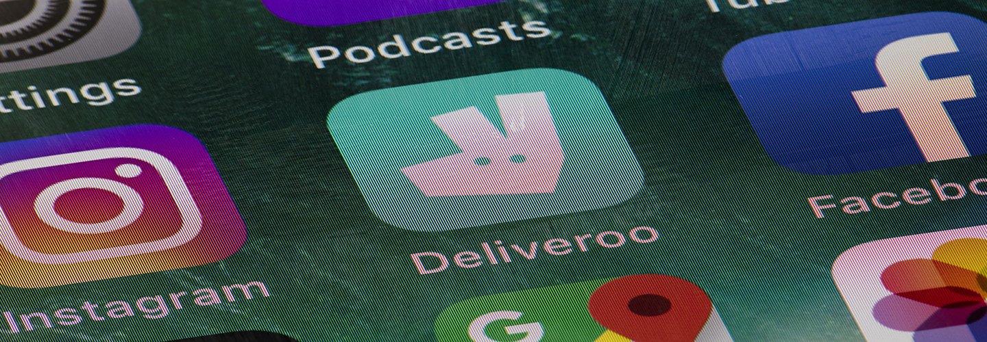 A mobile phone showing the Deliveroo app