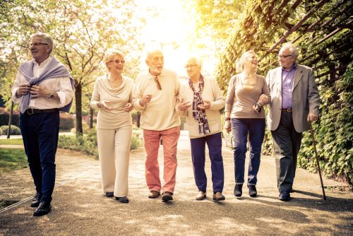 A group of cheerful older people