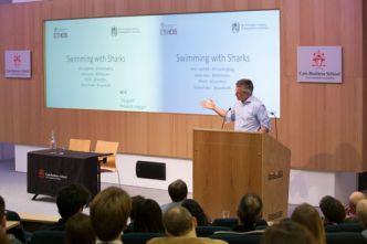 Joris Luyendijk speaking at the Swimming with Sharks event at Cass Business School