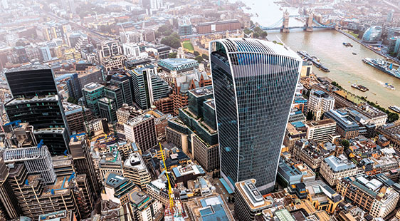 The City of London skyline from above