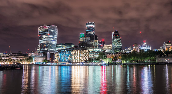 The City of London skyline from the Southbank at night