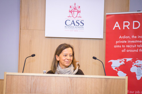 Dominique Senequier on stage at the Cass Dean's lecture