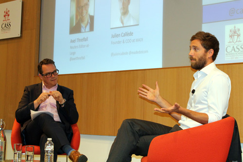 Alex Threfall and Julien Callede on stage at the ET@Cass event