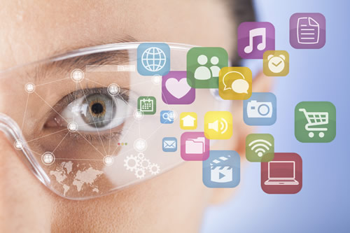 Close up of human eye and digital icons