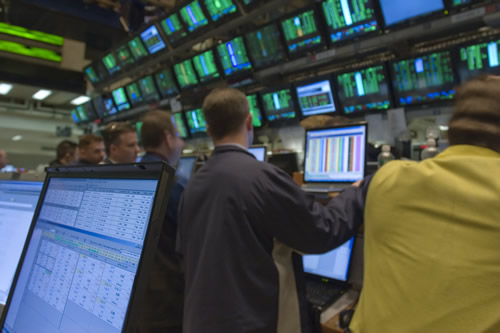A group of traders in New York