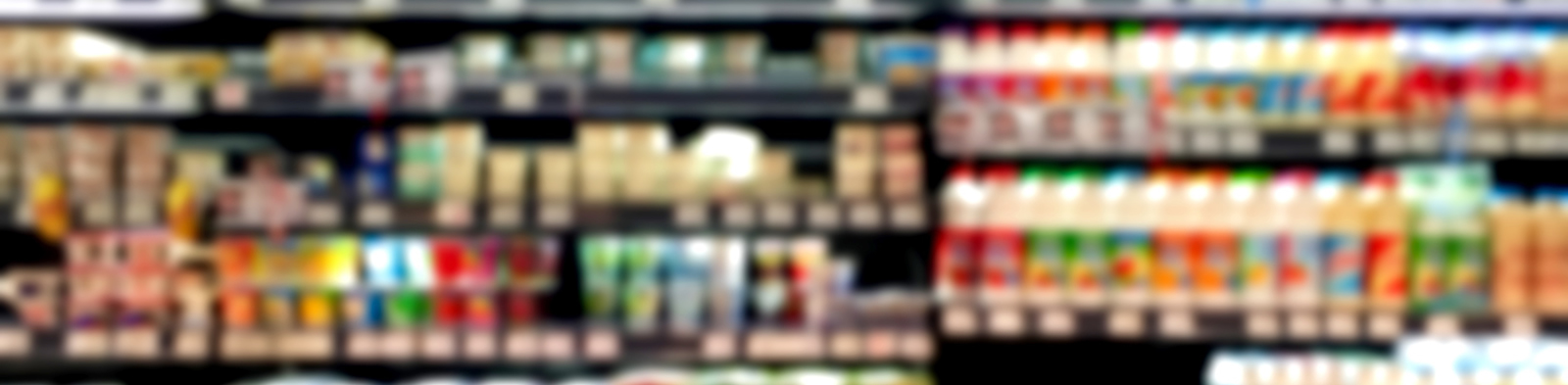 Blurred supermarket food products