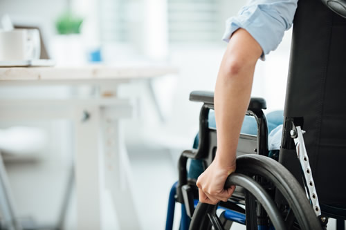 Disabled person working in an office
