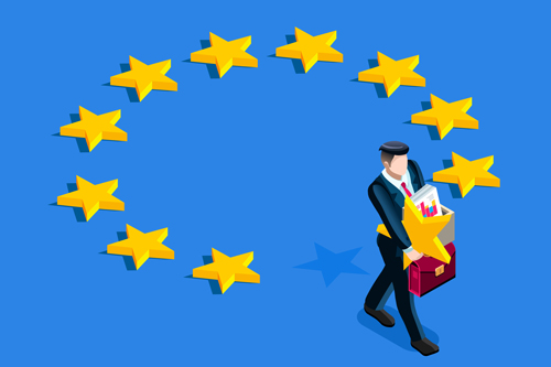 Brexit concept. A british gentleman take a star out from euro flag