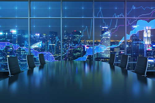 Hi-tech corporate boardroom