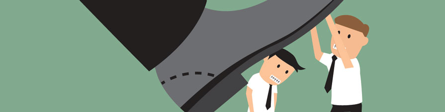 A cartoon image of two workers underneath the sole of a giant shoe.