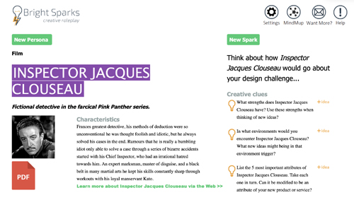 Screenshot of the BrightSparks creative roleplay, showing the persona of Inspector Jacques Clouseau, with characteristics and creative clues to thing about how the character would go about the design challenge in question.