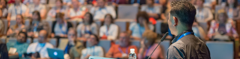 Entrepreneurship-Speaker giving talk at conference