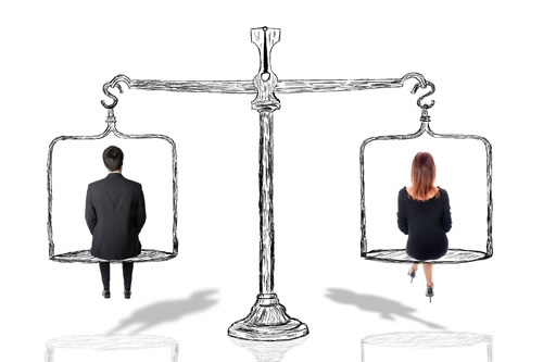 Gender equality represented by scales