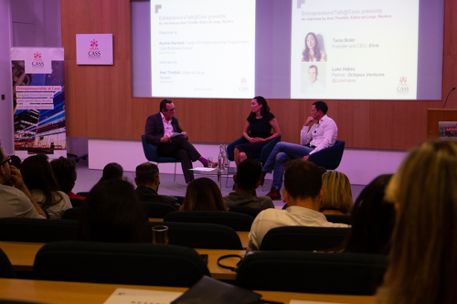 Reuters journalist Axel Threlfall interviews CEO and founder of Elvie, Tania Boler, and Octopus Ventures Partner, Luke Hakes, during July 2019's Entrepreneurs Talk at Cass event.
