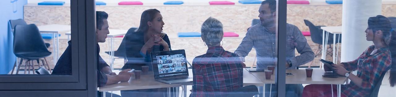 A meeting at a start-up office