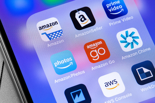 A range of Amazon apps on a mobile phone