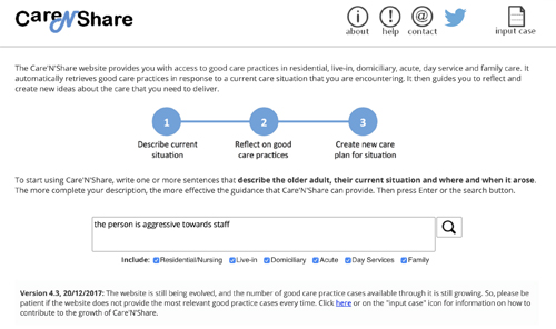 Screenshot of the Care'N'Share website showing the initial stage of a three step process: 1. Describe current situation, 2. Reflect on good practice. 3 Create new care plan for situation.