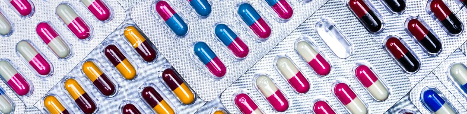 Medicine capsules in blister packs