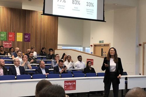 Wendi Lai Pitching Lonbrella at City Spark, a business competition (April 2018)