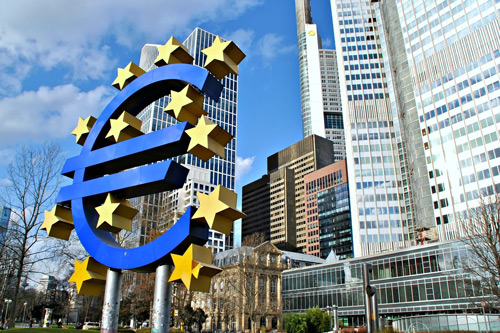Euro sign in Frankfurt. Central bank tone asset prices